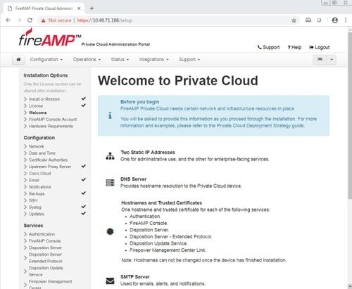 Installation and Configuration of AMP Virtual Private Cloud - Cisco