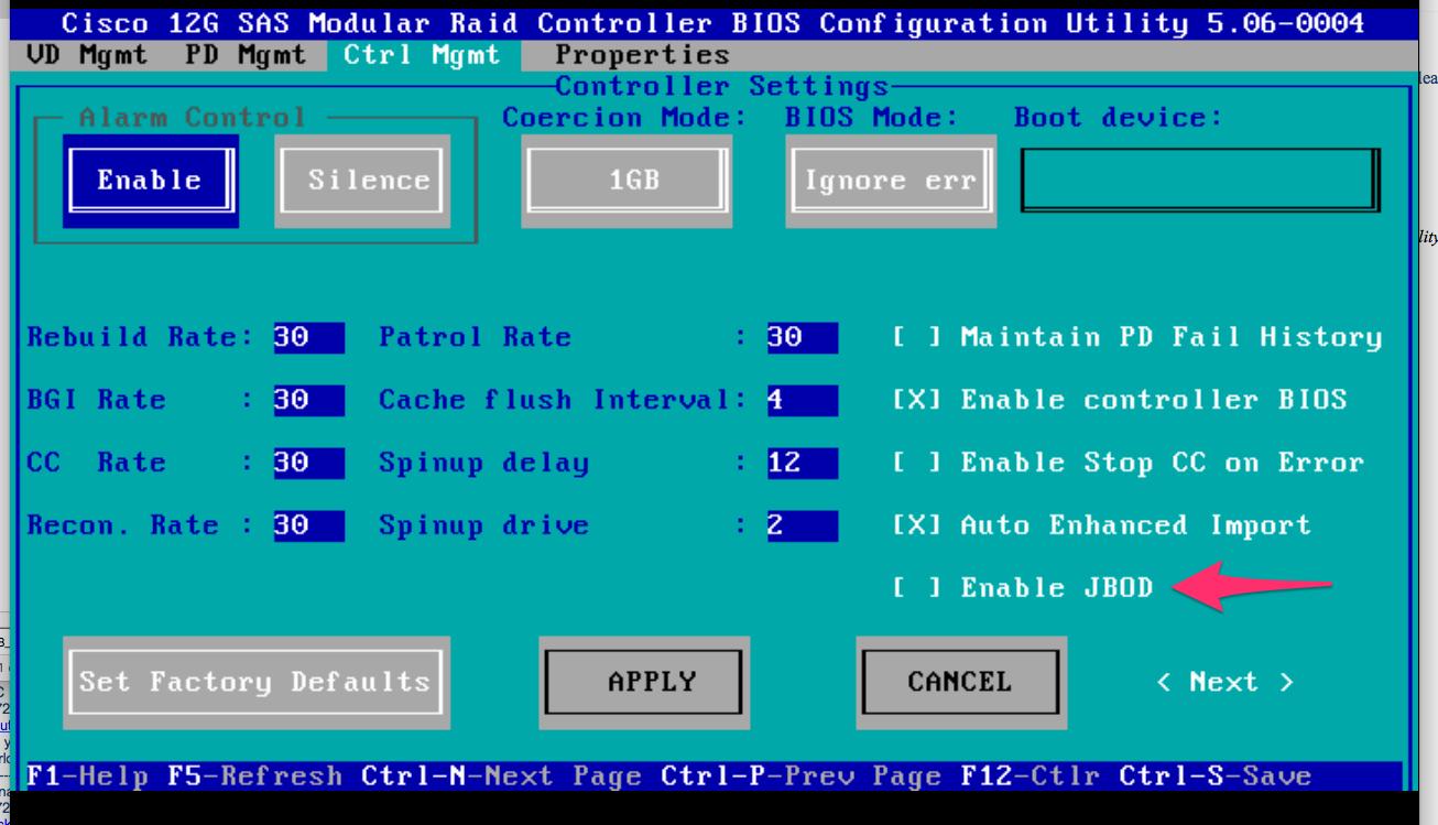 C-Series - Enable JBOD on Cisco 12G SAS Modular Raid ... on