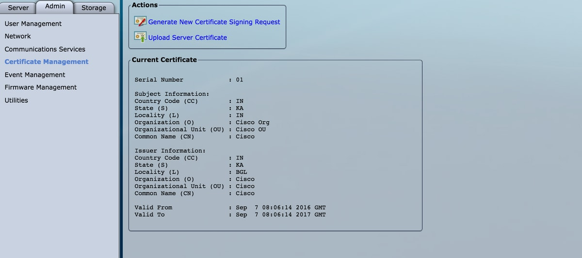 Configure UCS Server Certificate to CIMC - Cisco