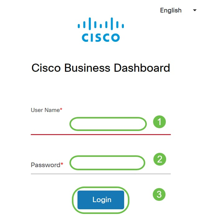 Login to the Cisco Business Dashboard using a User Name and Password. Click Login.