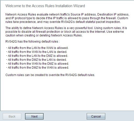 Configuration of Access Rule through Wizard on RV016, RV082