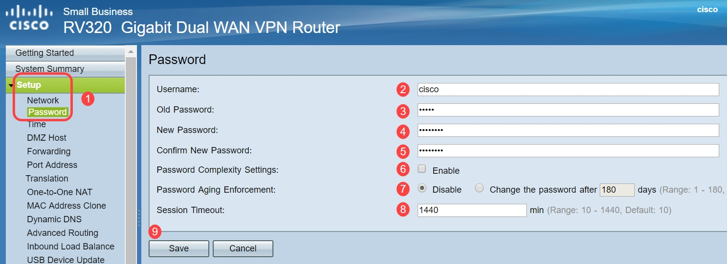 Password Configuration on RV320 and RV325 VPN Router Series