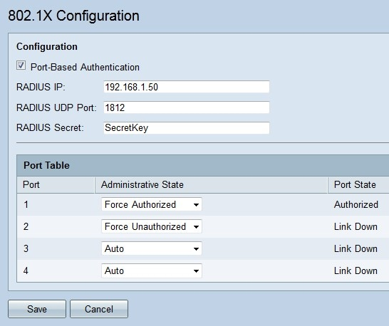 Log In To The Web Configuration Utility And Choose Port Management 8021X Page Opens