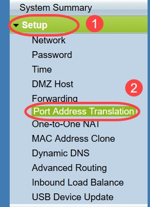Port Address Translation page