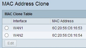 MAC Address Clone page