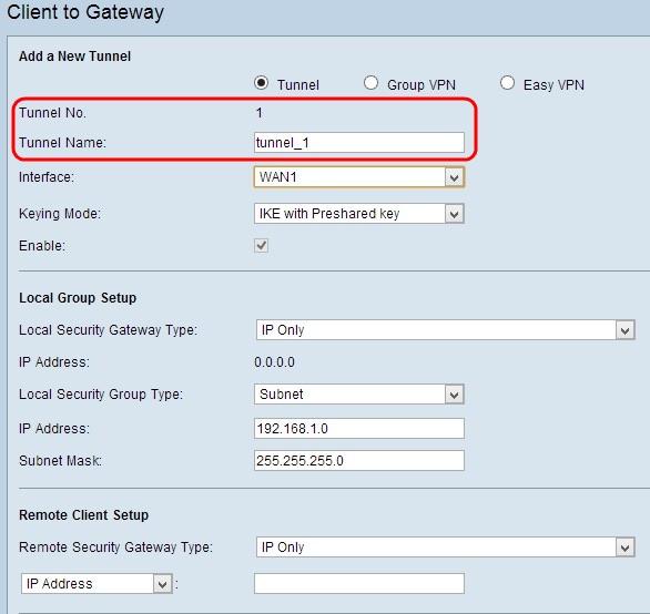 Configure Single Client to Gateway Virtual Private Network