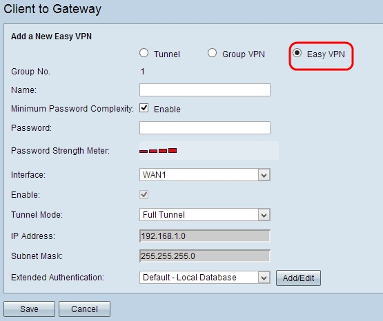Configure Easy Client to Gateway Virtual Private Network