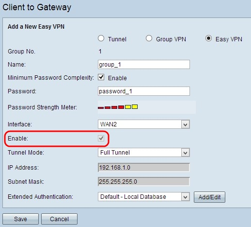 Configure Easy Client to Gateway Virtual Private Network (VPN) on