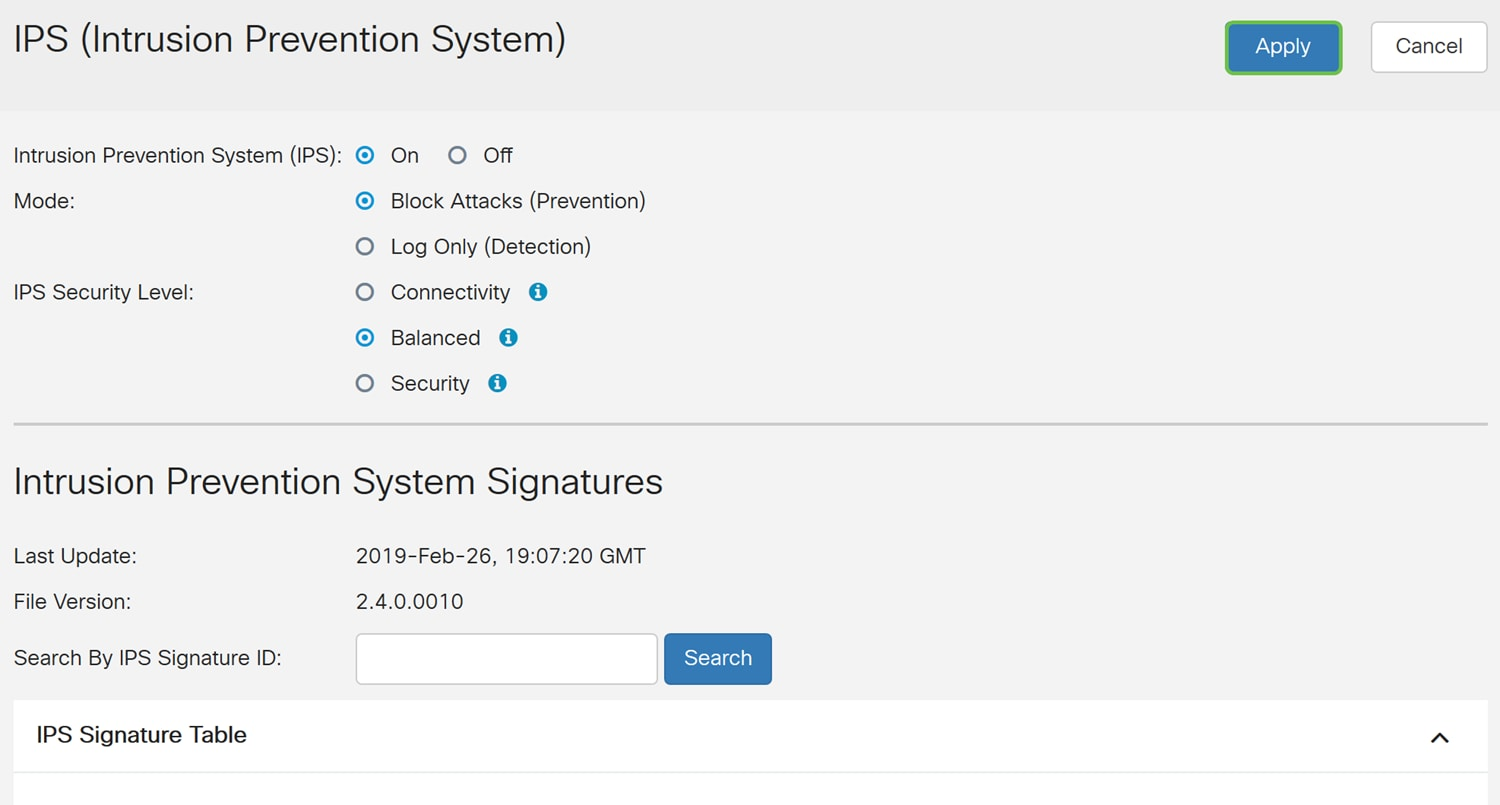 Configuring Intrusion Prevention System on the RV34x Series