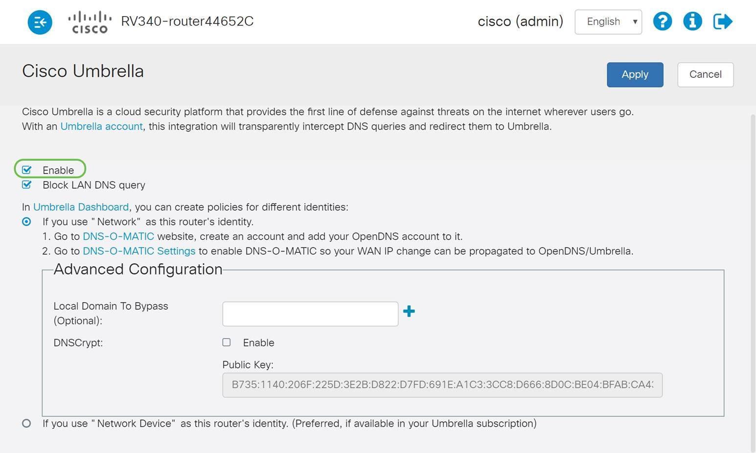 Configuring Cisco Umbrella on your Network via RV34x series
