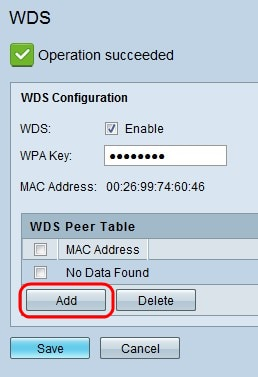 Wireless Distribution System (WDS) Configuration on the