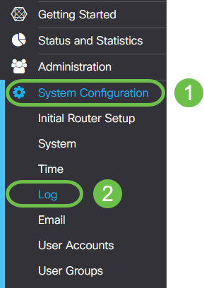 The main menu of the router, a two click combo is highlighted - first System Configuration and second Log.