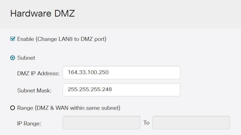 Hardware DMZ with information filled out