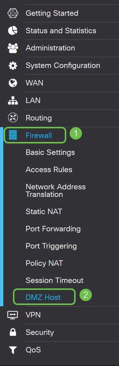 Image of the menu bar and its available options, highlighting the Firewall