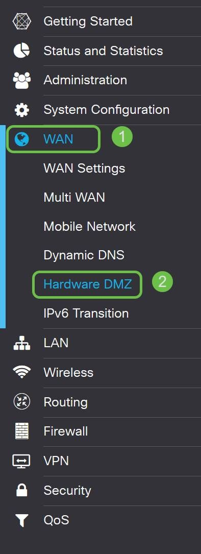Menu bar with firewall, hardware DMZ highlighted