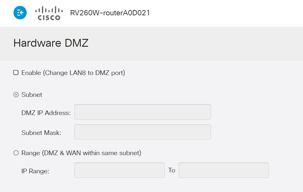 Hardware DMZ options page