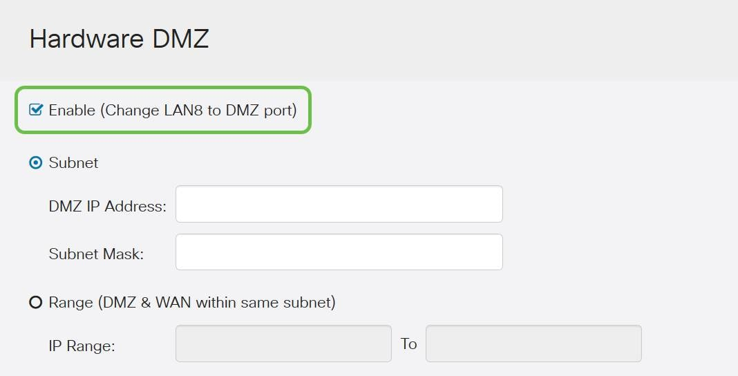 Hardware DMZ options page with Enable toggled on