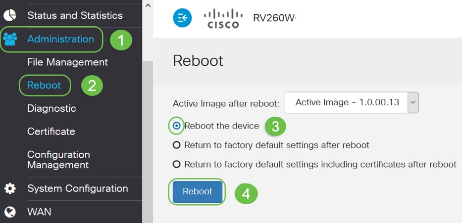 How to Reboot and Reset to Factory Default Settings on RV160 and