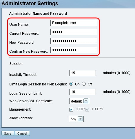 Configuration of the Administrator Account Settings on the