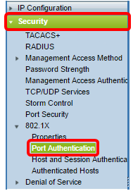 Log In To The Switch Web Based Utility And Choose Security 8021X Port Authentication
