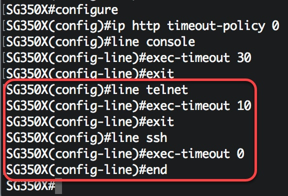 Configure Idle Session Timeout Settings on a Switch through the CLI