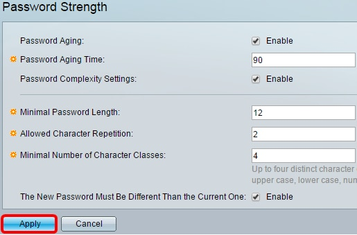 Configure Password Strength and Complexity Settings on the