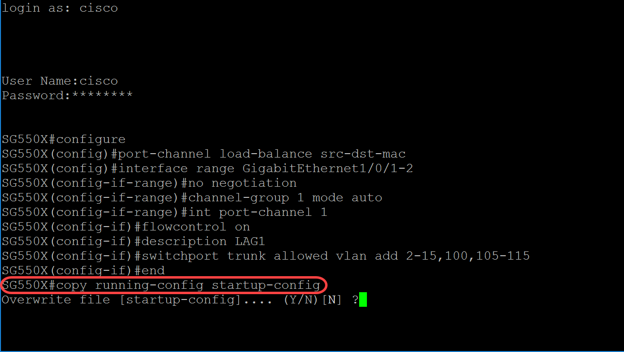 Configuring LAG Settings on a Switch through the Command Line