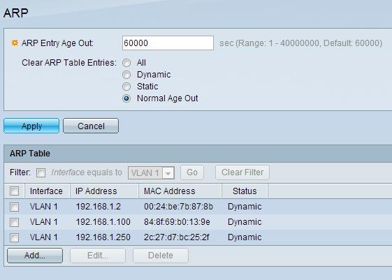 Address Resolution Protocol (ARP) Manual Configuration on ESW2-550X