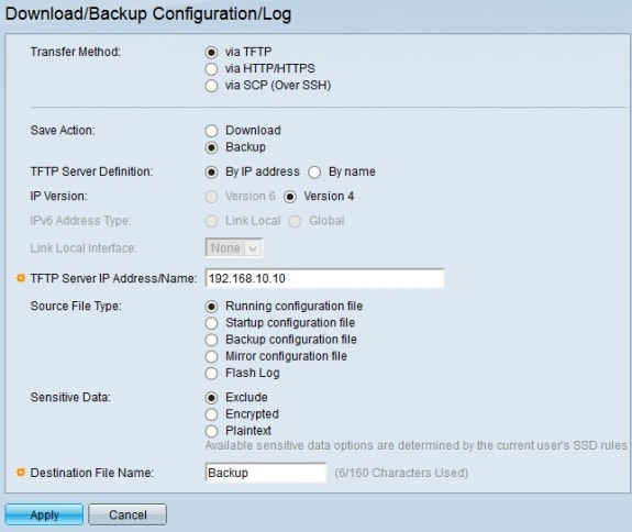 Configuration of Download and Backup Configuration Settings