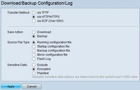 Configuration of Download and Backup Configuration Settings and Logs