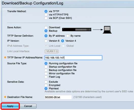 Download or Backup Configuration File on an Sx200, Sx300, or