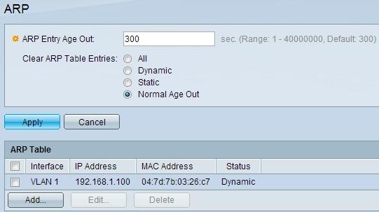 Configuration of Address Resolution Protocol (ARP) on Sx500