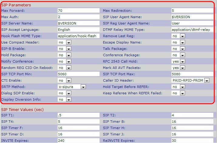 Configure Session Initiation Protocol (SIP) Parameters on