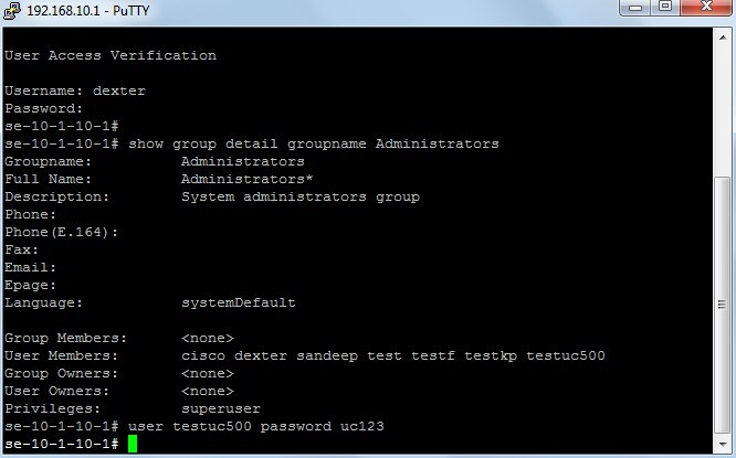 Password Reset for a CUE GUI User Through CLI on UC500 Series Device