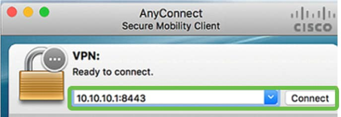 In the AnyConnect Secure Mobility Client window, enter the gateway IP address and the gateway port number separated by a colon (:), and then click Connect.