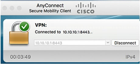 The AnyConnect window should now indicate the successful VPN connection to the network.