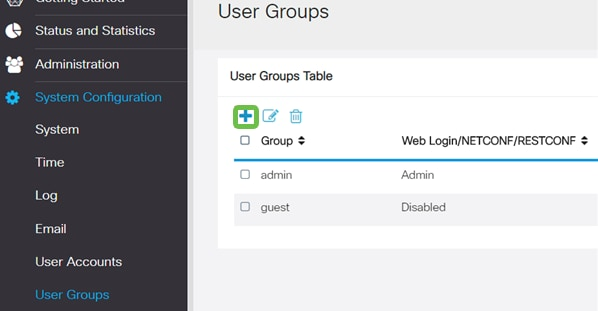 User Groups section, the Plus icon is highlighted for user click.