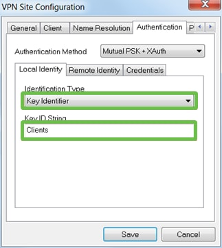 Authentication tab of Shrewsoft. Identification Type and Key ID String are highlighted for user input.