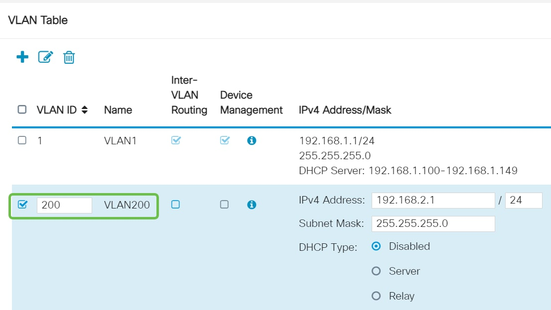 Enter the VLAN ID that you want to create and a Name for it. The VLAN ID range is from 1-4093.