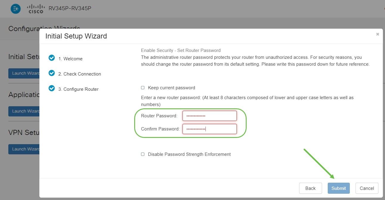 Enter a password that conforms with the strength requirements. Click Next. Take note of your password for future logins.