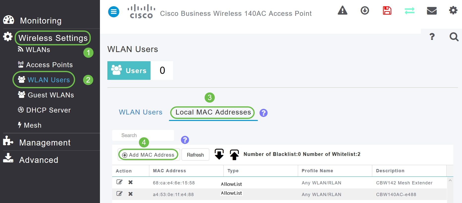 Navigate to Wireless Settings > WLAN Users > Local MAC Addresses. Click Add MAC Address.