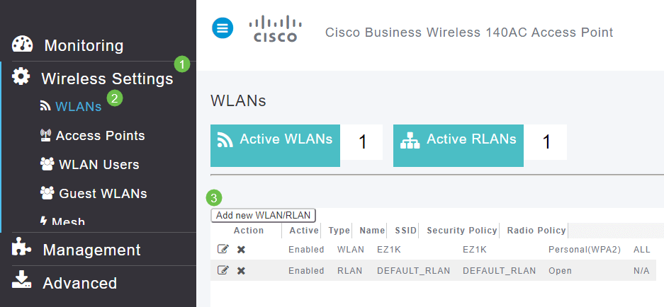 A WLAN can be created by navigating to Wireless Settings > WLANs. Then select Add new WLAN/RLAN.