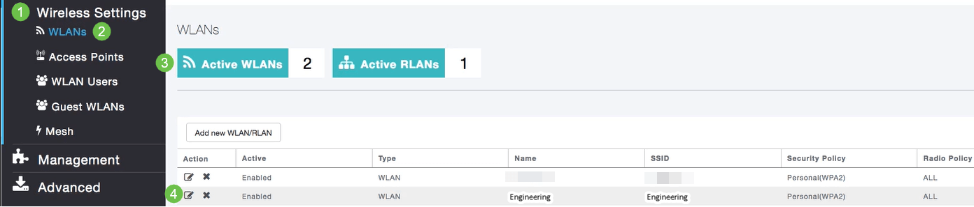 To view the WLAN you created, select Wireless Settings > WLANs.