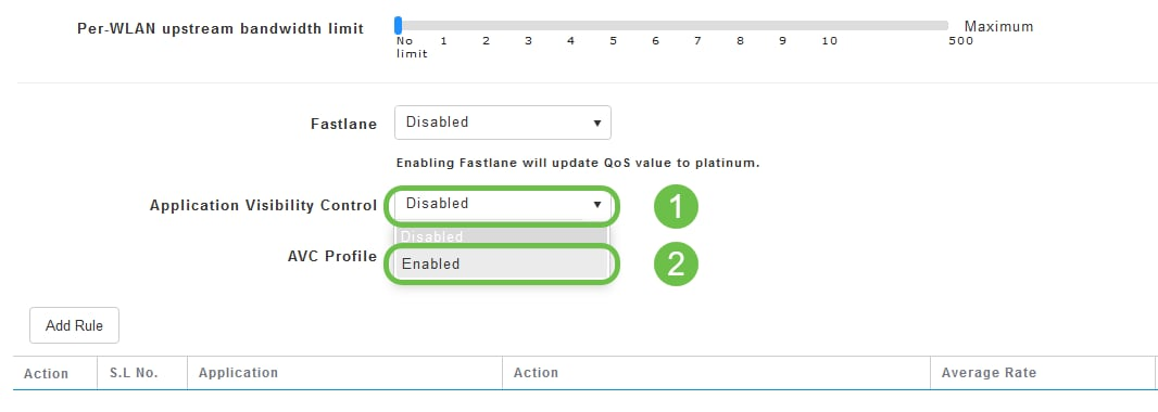 Application Visibility Control field, set to enables.