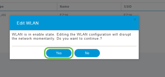 A popup regarding WLAN availability is displayed, select your choice of yes or no.