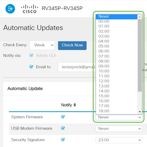 From the Update drop-down list, choose a time of the day you want the automatic update to be done. Some options may vary according to the type of update you have chosen. Security Signature is the only option to have an immediate update option.