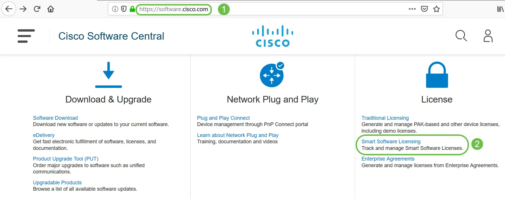 Access Cisco Software and navigate to Smart Software Licensing.