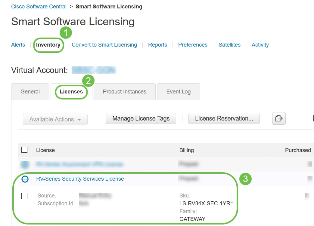 Navigate to Inventory > Licenses and verify that the RV-Series Security Services License is listed on your Smart Account. If you do not see the license listed, contact your Cisco partner.