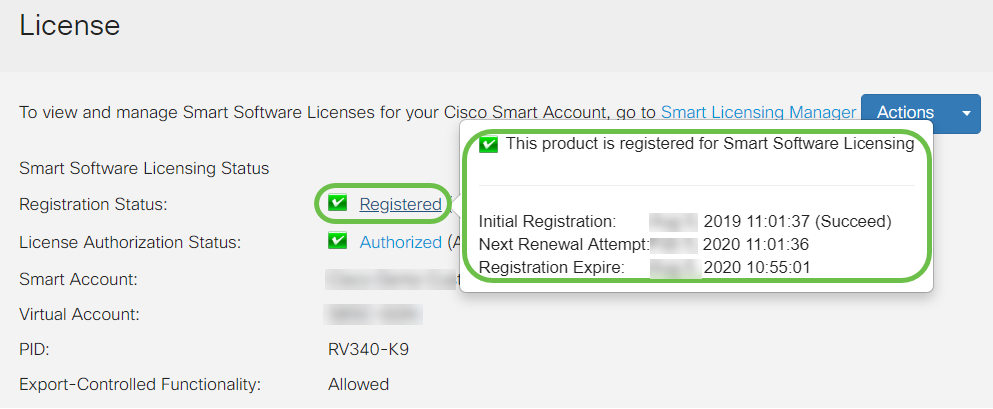 To view more detail of the Registration Status of the license, hover your pointer over the Registered status. A dialog message appears with details.