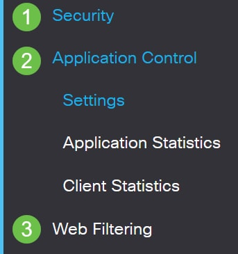 Log into the web-based utility and choose Security > Application Control > Web Filtering.